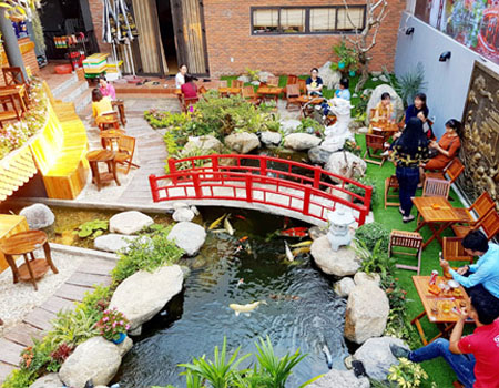 Dịch vụ thiết kế tiểu cảnh quán café sân vườn