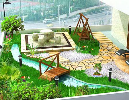 Thiết kế vư�n xanh trên sân thượng